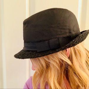 NWT Chinese Laundry black fedora hat ribbon bow
